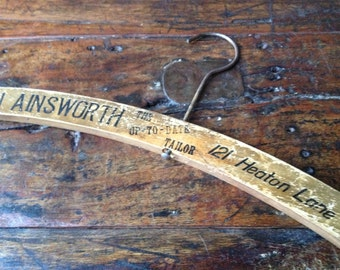 English Tailor Wooden Hanger, Coat Hanger, Tailor Advertisement, Stockport, England, Prop Display Historical 1940s