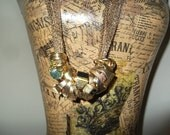 Reserve for Julie Steampunk jewelry, vintage gold rings estate jewelry necklace, assemblaged necklace