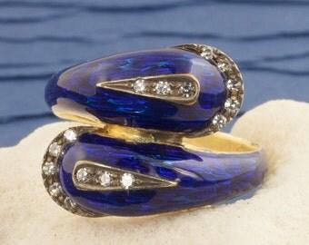 Vintage Enamel And Diamond Snake Ring