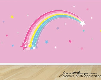 Large Rainbow Wall Decal,Plume of Stars and Rainbow Removable Wall Decal