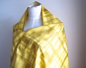 1950s-60s Fabric, Dressmaking, Vintage Cotton Fabric, Yellow Ochre Pattern
