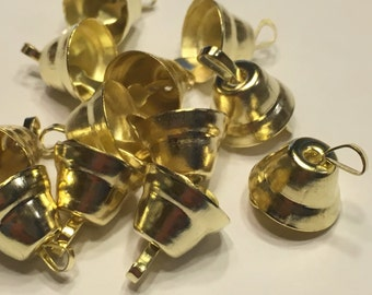 6 small / tiny gold Liberty bells, 9 x 10 mm (A1)