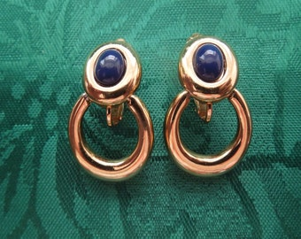 Vintage Clip Earrings, Gold Tone with Blue Stone, Elegant and Excellent Condition.