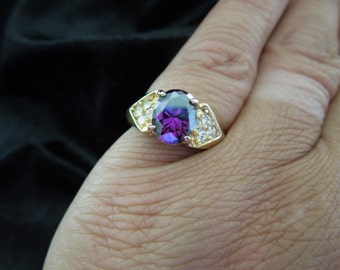 Vintage Costume Ring, Gold Toned Metal, Large Purple Stone with Clear Rhinestones, Stamped, Size 6