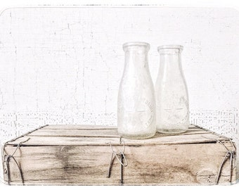 vintage glass milk bottles. pint size. farmhouse decor. vintage gift. kitchenwares. vase. kitchen decor. country decor. refugeca2015