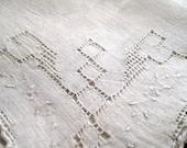 Linen Handkerchief, 10 x 10, Handmade handkerchief, Antique Linen