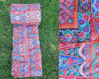 Vintage 70s Sleeping Bag Boho Hippie Indian Cotton Pattern
