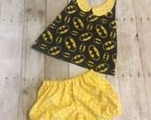 3T Batman Halter Top and Polka Dot Shorts Girl Set - Ready to Ship