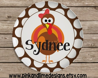Personalized Thanksgiving Plate, Monogrammed Melamine Plate, Serving Plate, Turkey Plate, Thanksgiving Childrens Plate, Childs Plate