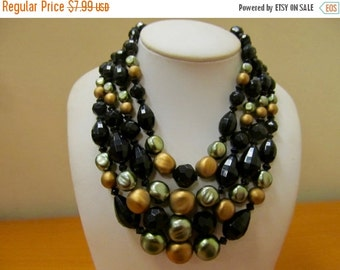 ON SALE Vintage 4 Strand Beaded Necklace Item K # 779