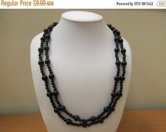 ON SALE TRIFARI Black Double Strand Beaded Necklace Item K # 1217