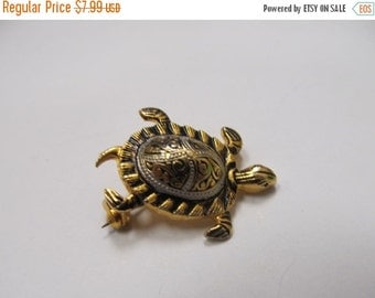 ON SALE Vintage Spanish Damascene Turtle Pin Item K # 314
