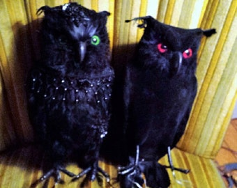 MR. & MRS Owl- Two Gothic Large Black Feathered Owls Home Decor