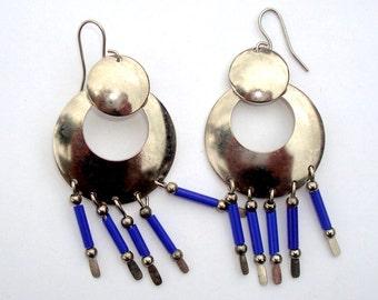 Double Silvertone Disks Costume Orbs Blue Bugle Beaded Dangle Pierced Earrings