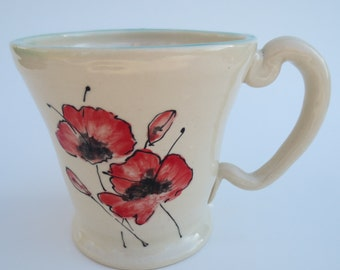 Coffee Mug with Hand Painted Poppies on both sides