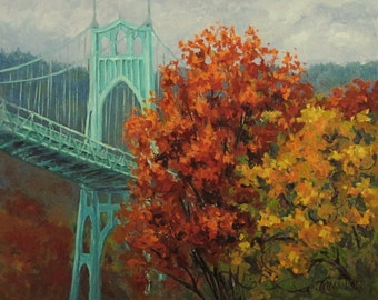 In the Fall - Large Original St Johns Bridge painting