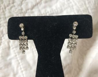 Vintage Silvertone Rhinestone Earrings, 1'' Long