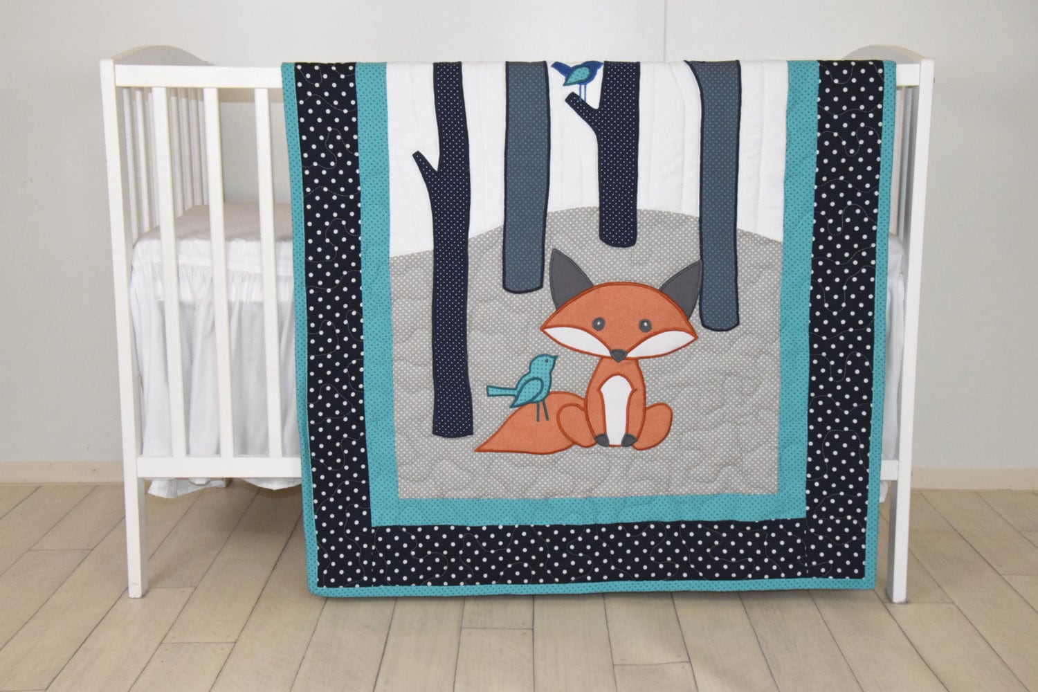 Fox Blanket Teal Navy Gray Nursery Baby Boy Quilt Woodland Crib Bedding Forest Custom Made