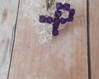 Purple Ribbon Awareness Heart Pendant