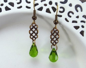 Art Deco Peridot Green Crystal Earrings Antique Gold