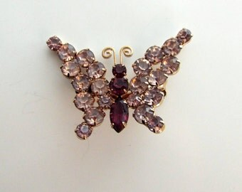 Butterfly Pink and Purple Rhinestone Brooch Pin
