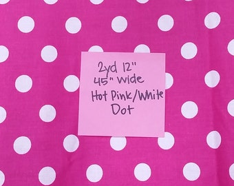 Hot Pink and White Dot Quilting Cotton by the Yard