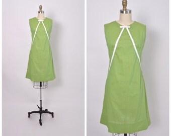 Vintage 1960s 60s Cotton Summer Dress Mod Green Shift