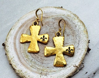 Gold Cross Earrings with Stamped Fleur De Lis