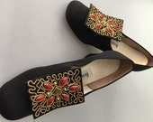 Reserved~1970s Vintage, JEWELED Pumps, Brocade High Heels ,REALITES  Alhambra, JEWELED Buckle, Movie Costume, Movie Prop, Size 9 M