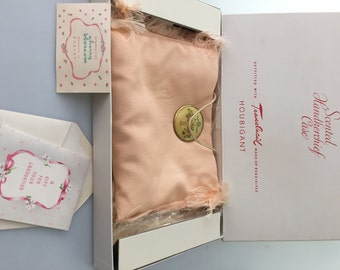 1950s Vintage ,SCENTED Pouch HANDKERCHIEF Pouch Enamel Decoration, Movie Prop, D'Orsay Fragrance Houbigant Original Box Graduation Gift Card