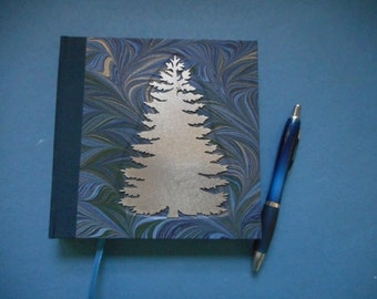 "Handmade blank book with hand-marbled covers: ""Midnight Words"". Journal, Diary. Travel Notes. Writing. Sketching"