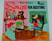 "Walt Disney Songs for Bedtime - Disneyland Records 1962 - Favorite Lullabies - ""Brahms' Lullaby"" - Vintage Vinyl LP Children's Record Album"