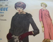 Vintage 1960's Vogue 6069 Young Fashionables Dress Sewing Pattern, Size 14, Bust 34