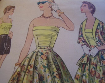 Vintage 1950's McCall's 3209 Bodice, Shorts, Skirt and Stole Sewing Pattern, Size 12,Bust 30