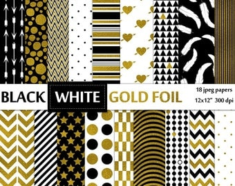 Black white and gold foil digital paper pack - 18 jpeg printable scrapbooking papers, 12x12, 300 dpi - instant download