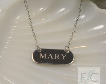 Engraved name necklace, up to 10 characters, gorgeous quality by ElizaJayCharm