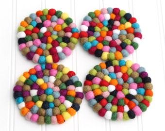 Rainbow Felt Ball Coasters - Set of 4 // Multicolor Coasters, Felt Ball Coasters, Kitchen Decor, Table Decor, Drink Coasters, Housewarming