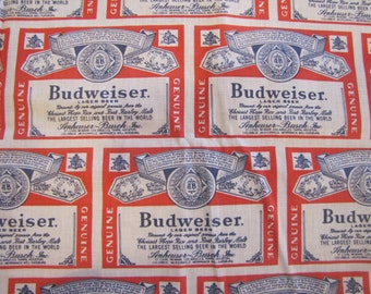 VTG Budweiser Novelty Print Fabric, Budweiser, Beer, Quilter Weight, Cotton Poly Blend, Novelty Print, Man Cave, Masculine, 1970's