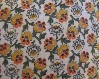 1950'S Country Floral Fabric, 1950's, Floral, Flower, Gold, Yellow, Green, Calico, Ditsy, Country, Quilter Weight, Cotton, Quilt Fabric