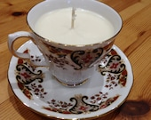 Vintage Cup & Saucer bone china Handmade Soya Eco candles, delicately perfumed  - Jasmine Bergamot