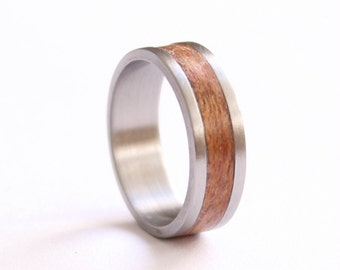 Mens Ring, Titanium Ring, Stainless Steel Wedding Band, Wood Wedding Ring, Mahogany Ring