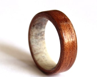 Mens Antler Ring, Women Wedding Ring, Mahogany Ring,  Natural Wood  Wedding band, Unisex Ring