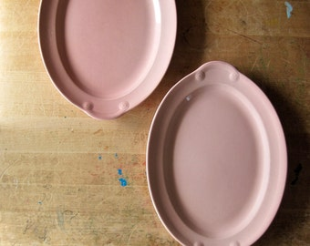 Vintage Lu Ray Pastels, LuRay Pastels, Lu-Ray Pastels, Pink Oval Platters, Taylor Smith & Taylor Co., TST, Sharon Pink, Rose Quartz