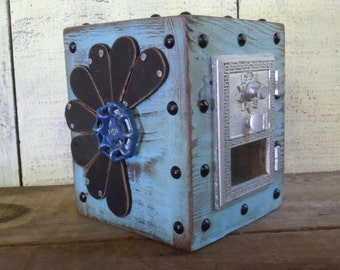 Post office Box Piggy Bank, Chester Mannly Light Blue Over Vintage Wood with Steampunk Flower and Silver Door