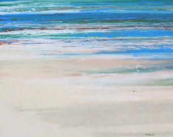 A Walk on the Beach. Original Acrylic on Canvas, 48 x 48.