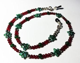 Kids Colorful Eyeglass Holder - Dark Red/Green Star
