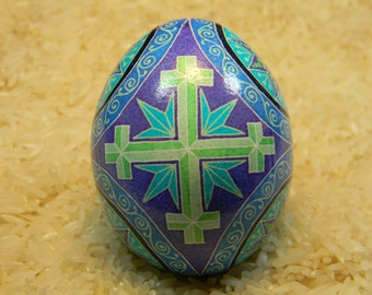 Green Cross Crosslet Pysanky Egg