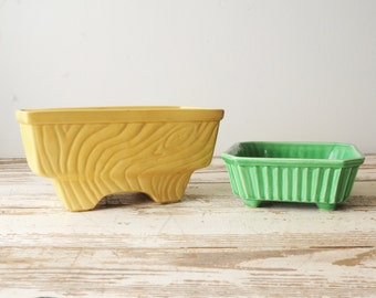 PAIR Mismatched USA Pottery Green Yellow