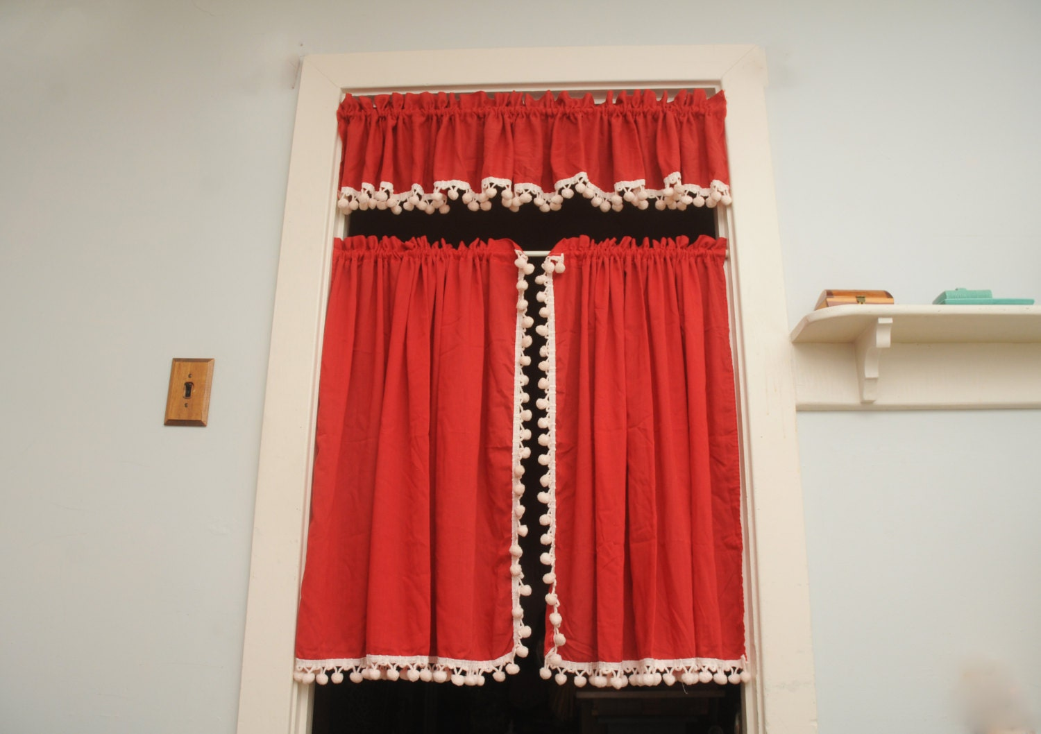 Vintage Cafe Curtains With Valance Red White Pom Poms Pair