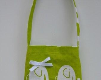 Toddler girl's shoulder bag, whimsical elephants, shoulder strap, gift idea, toddler carry-all, chartreuse bag for toddler